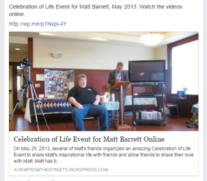 Celebration of Life for Matt Barrett