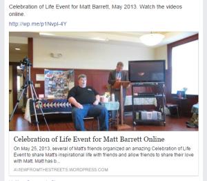 Celebration of Life for Matt Barrett