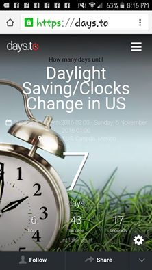 Daylight Savings 2016