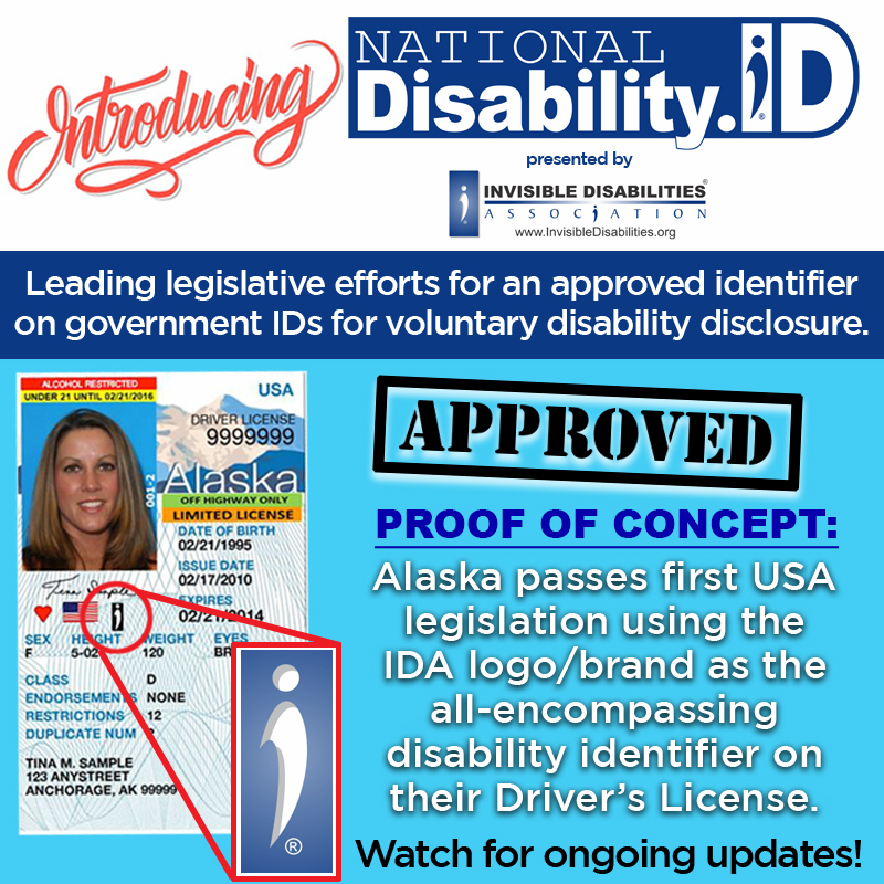 Invisible Disabilities Association launches new ID identifier for ID's and Driver's Licenses!