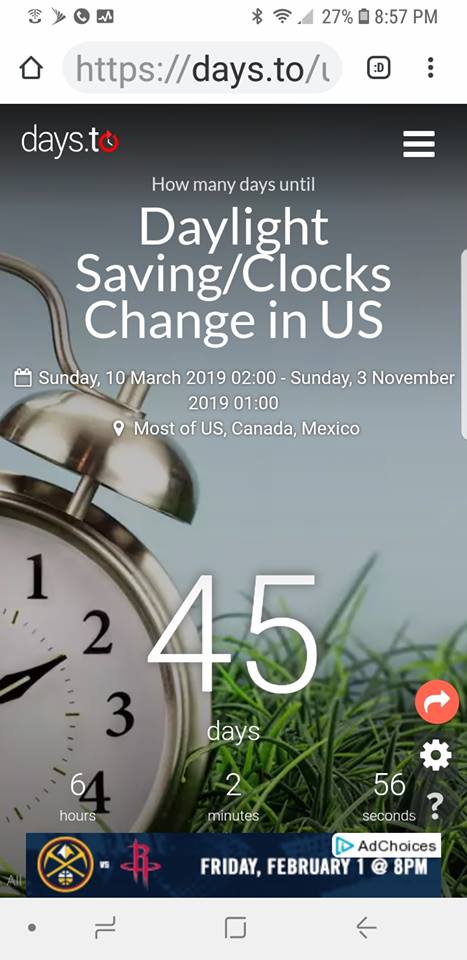 Daylight Saving starts on March 10, 2019!